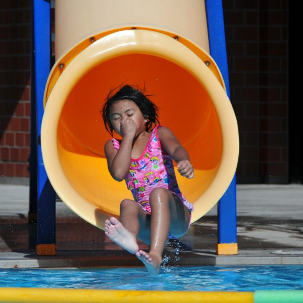 Girl on water slide at SHARC